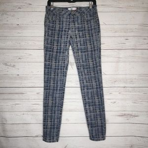 CAbi Blue Skinny Grid Jeans Size 4 Style 3047